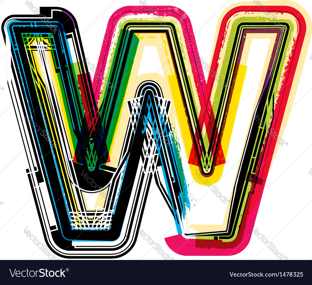 Colorful grunge font letter w vector