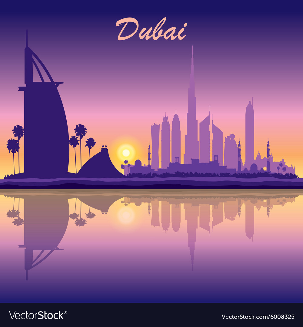 Dubai skyline silhouette on sunset background vector