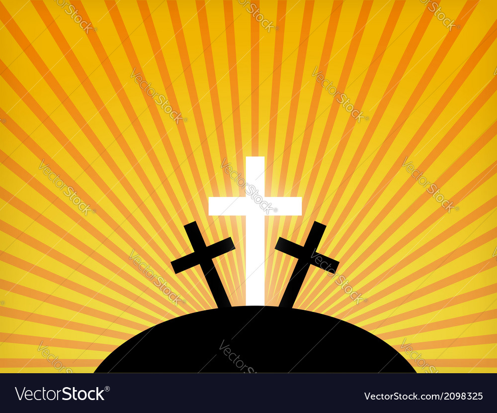 Silhouettes of crosses against a sunset sky vector
