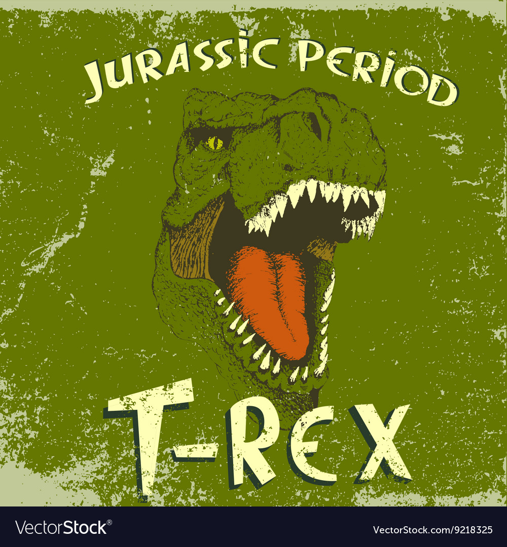Vintage label with angry face of tyrannosaurus vector