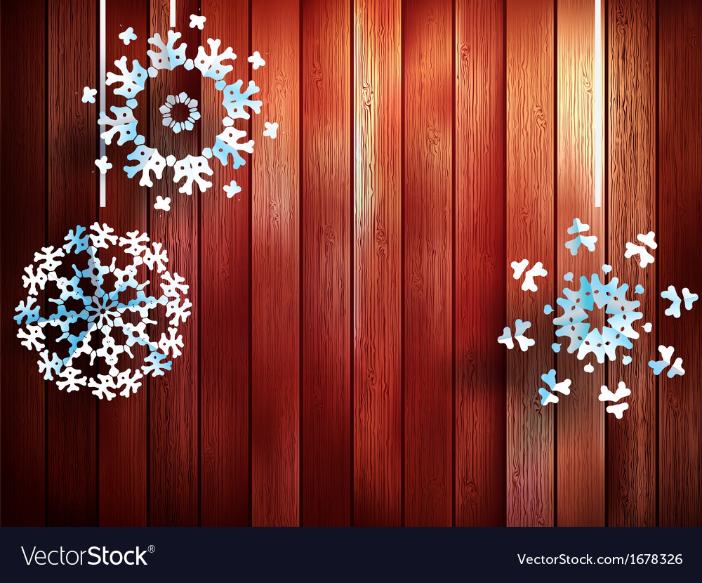 Christmas snowflakes hanging over wooden eps 10 vector