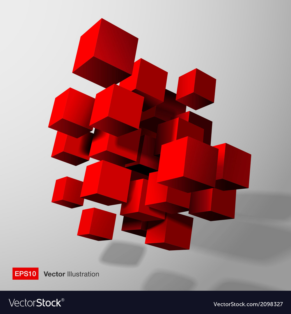 Abstract composition of red 3d cubes vector