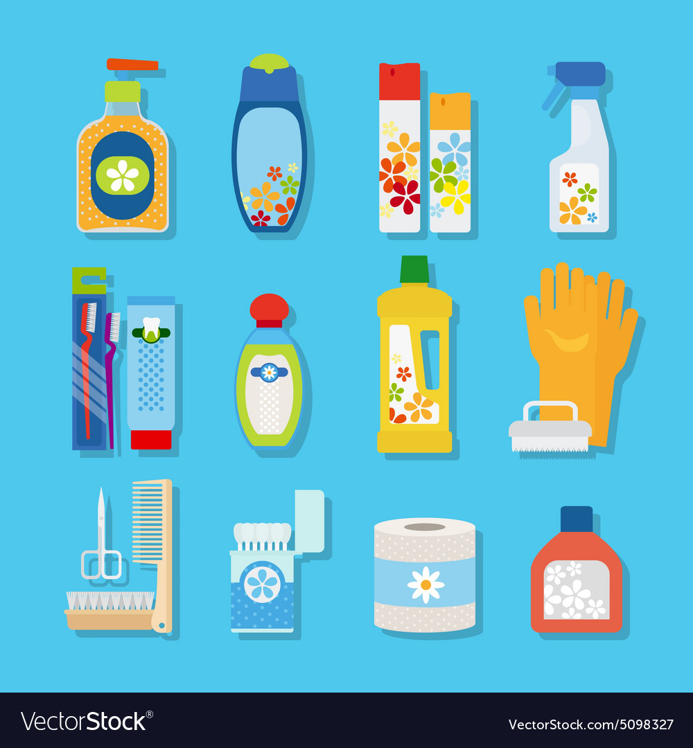Hygiene and cleaning products flat icons vector