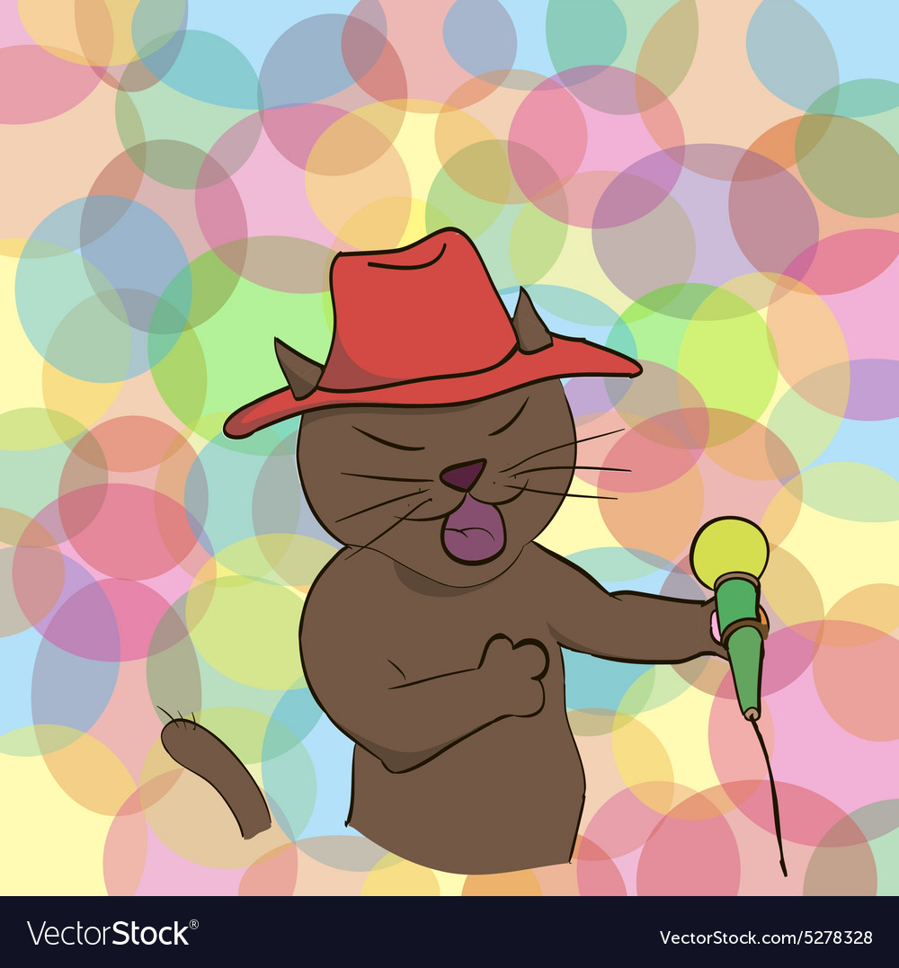 Cat sings a song into the microphone vector