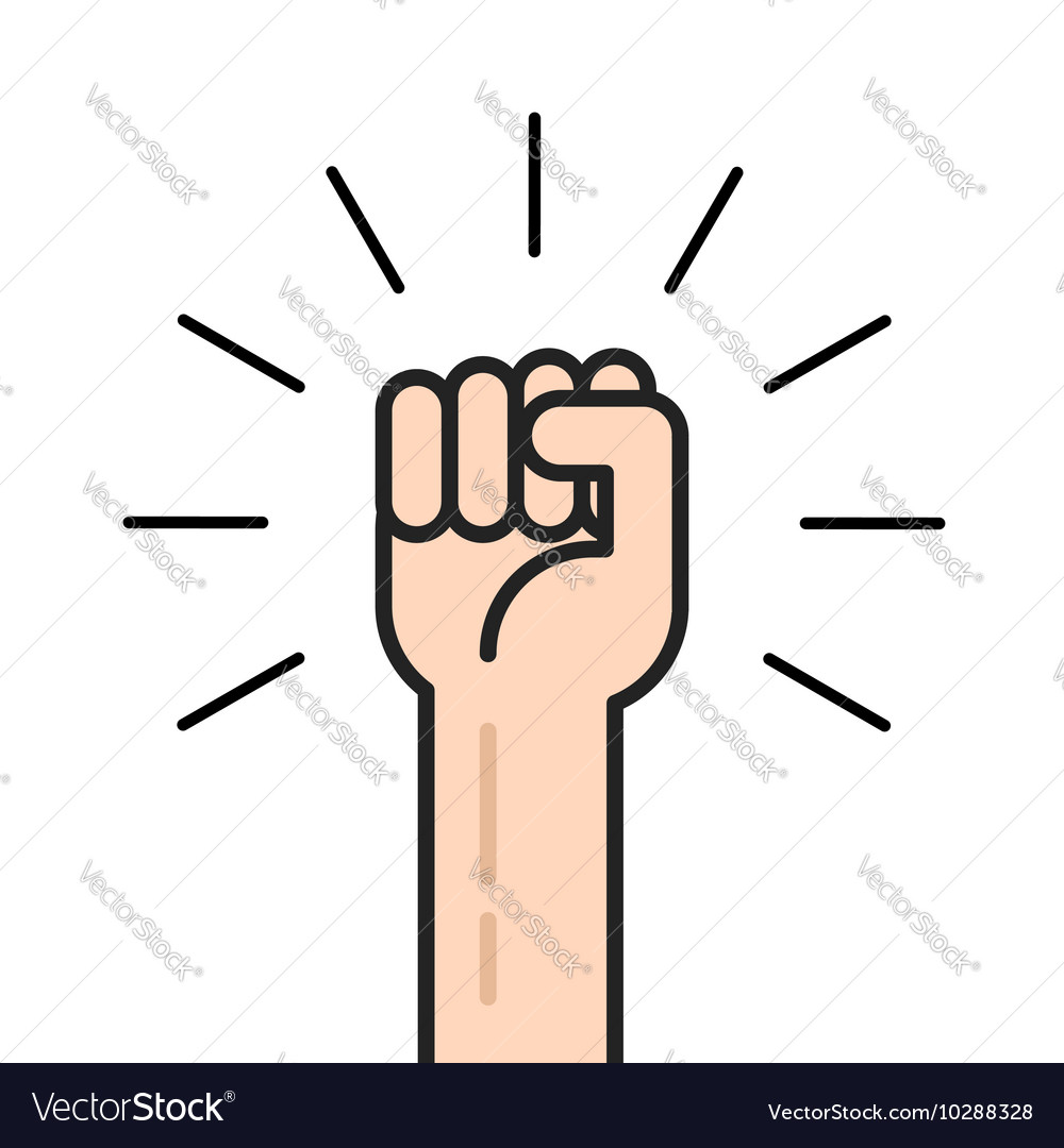 Fist hand up icon concept of win freedom vector