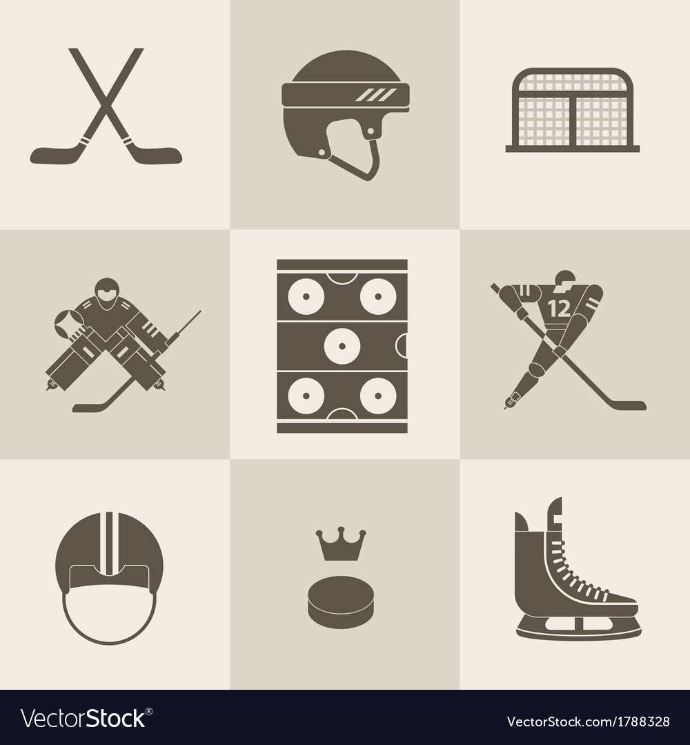 Hockey sport icons vector