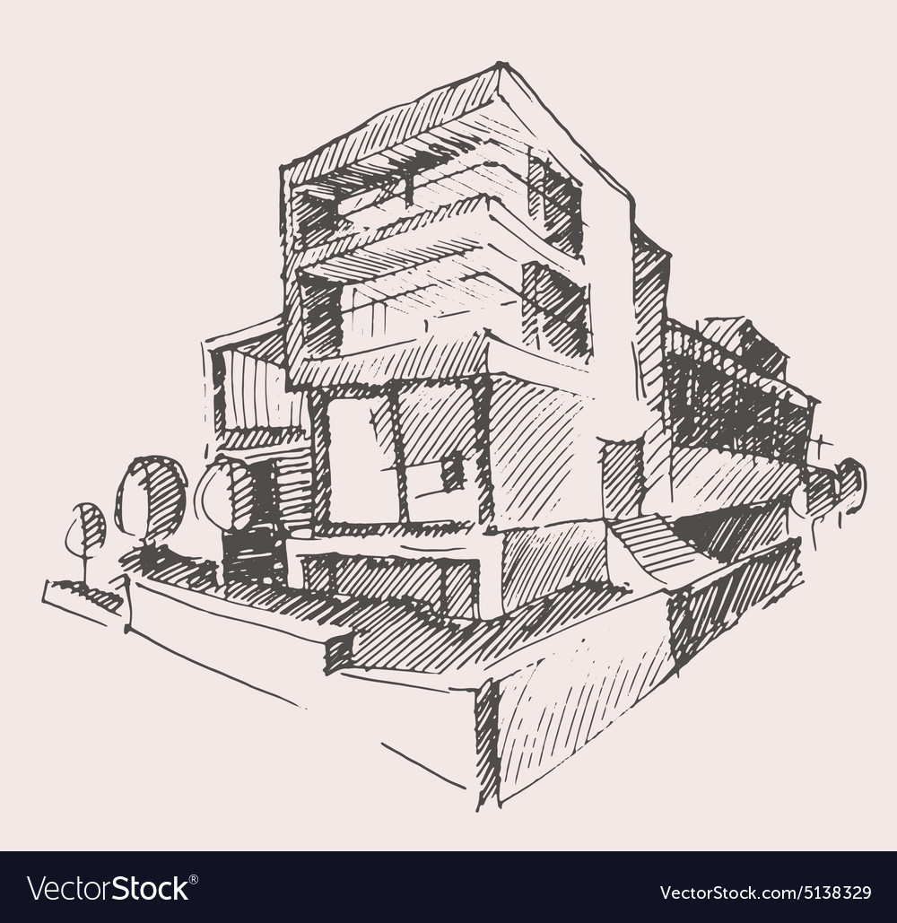 Architect draft modern new house building concept vector