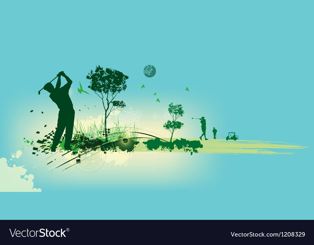 Golf silhouettes in blue background vector