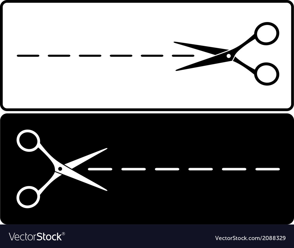 Scissors silhouette with cut lines vector