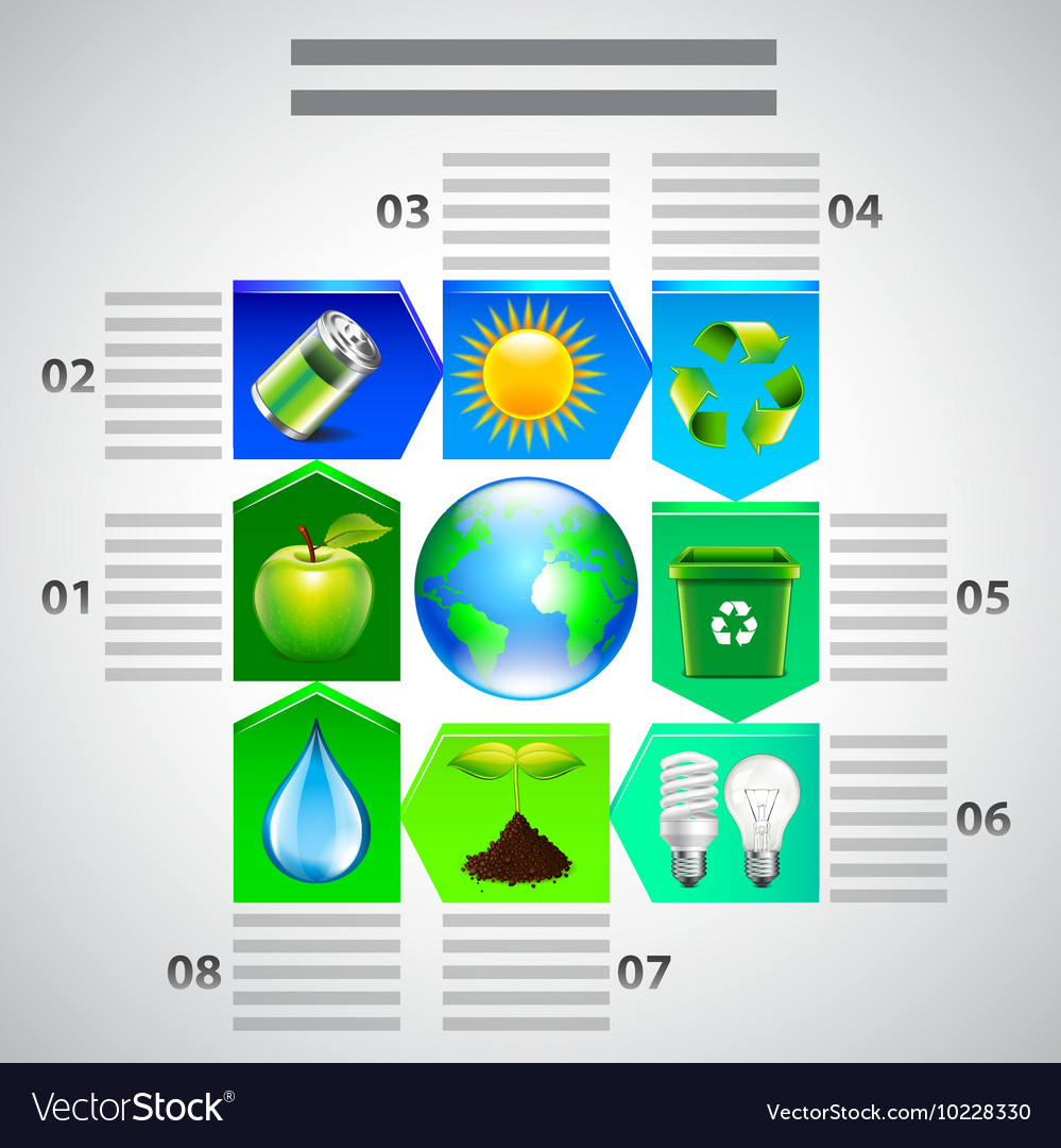 Environment inforgaphics ecology objects vector