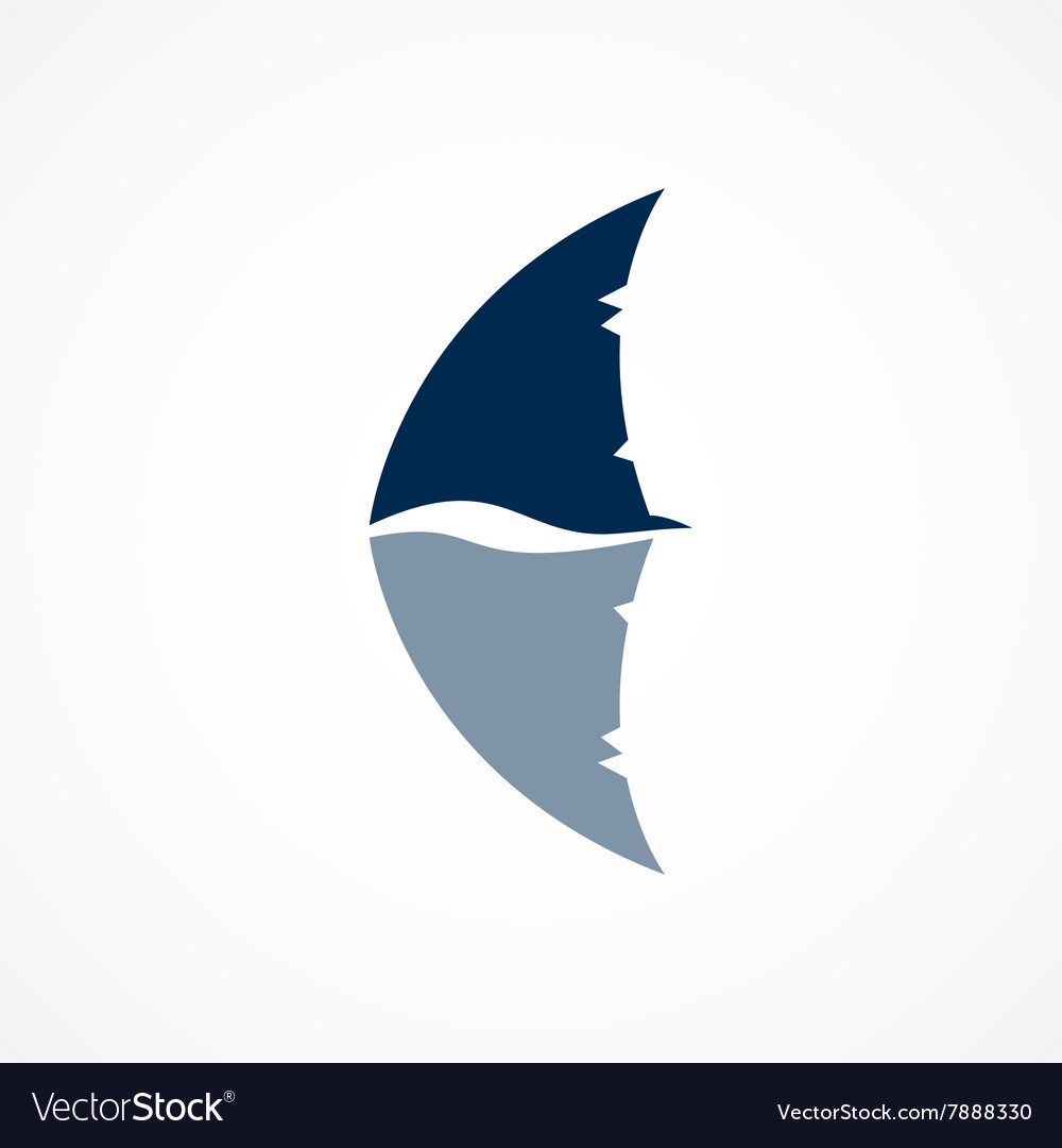 Shark fin logo sign on a white background vector