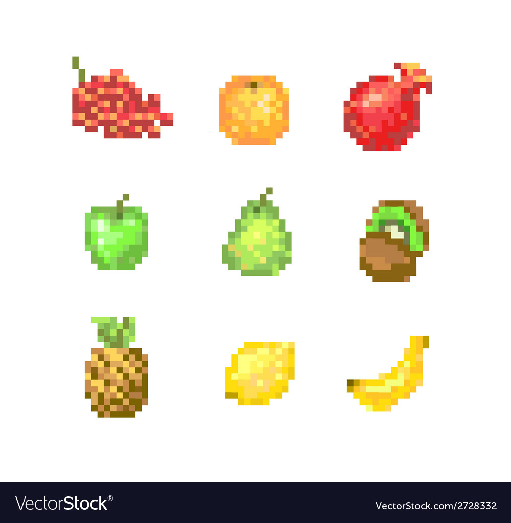 8 bit pixel fruits vector