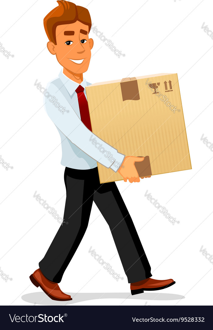 Delivery man is carrying a cardboard package vector