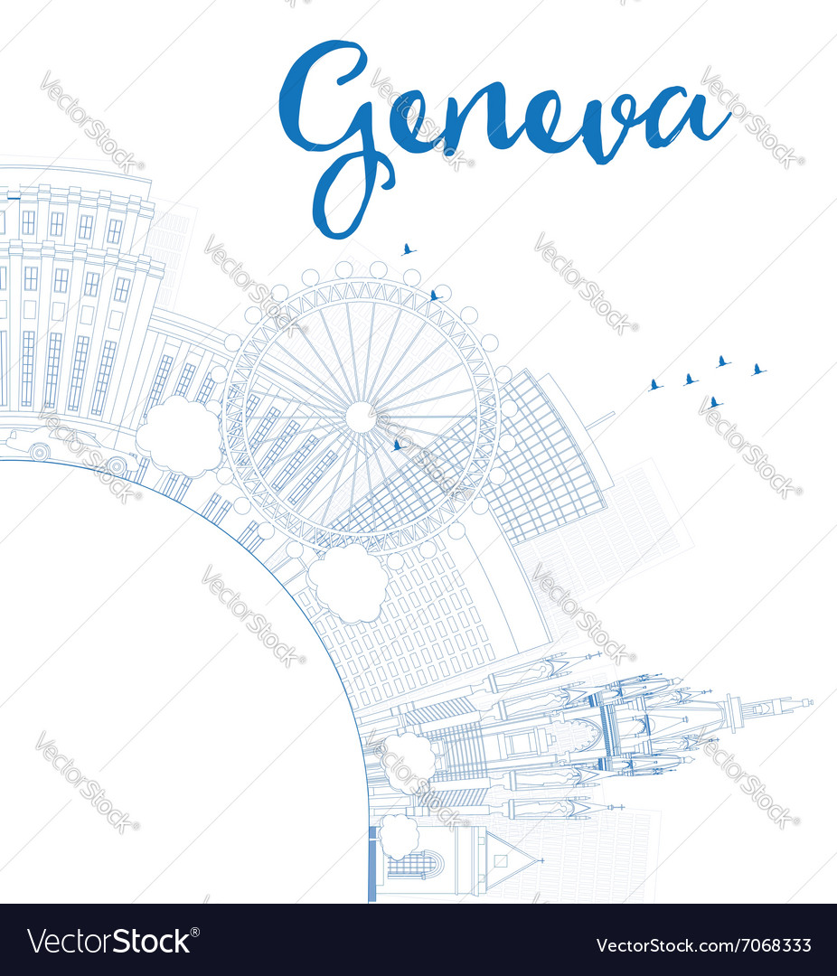 Outline geneva skyline with blue landmarks vector