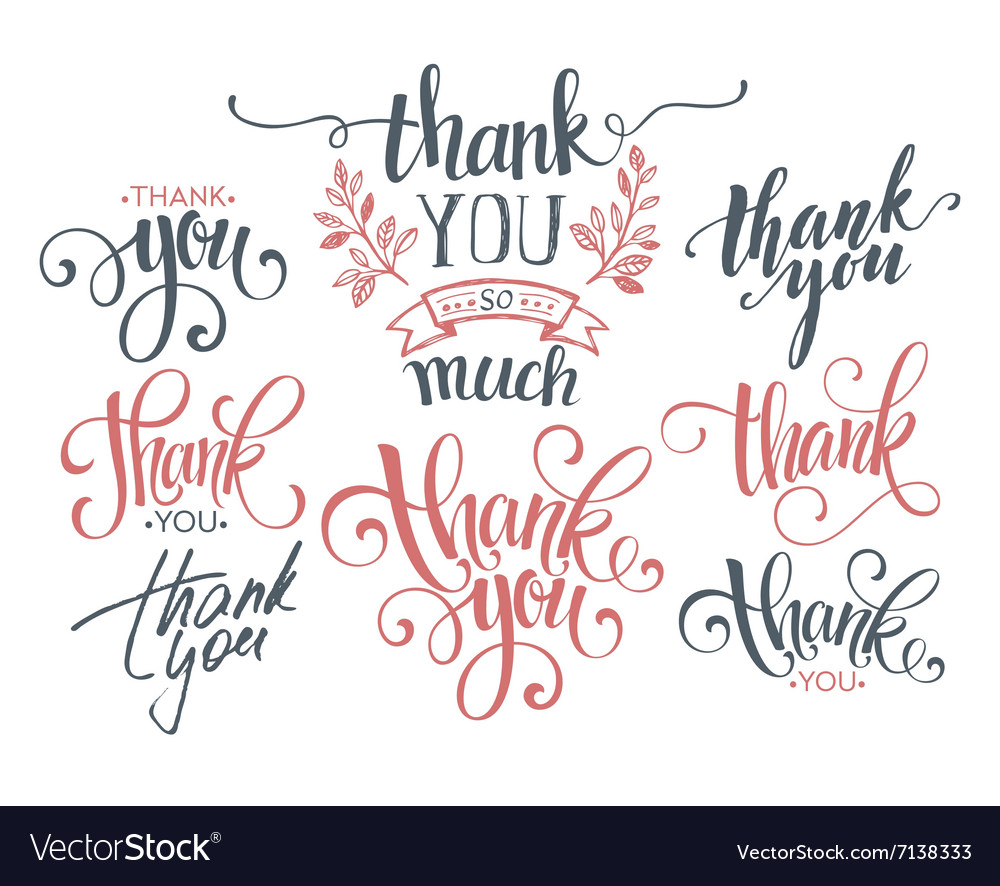 Set of custom thank you hand lettering vector