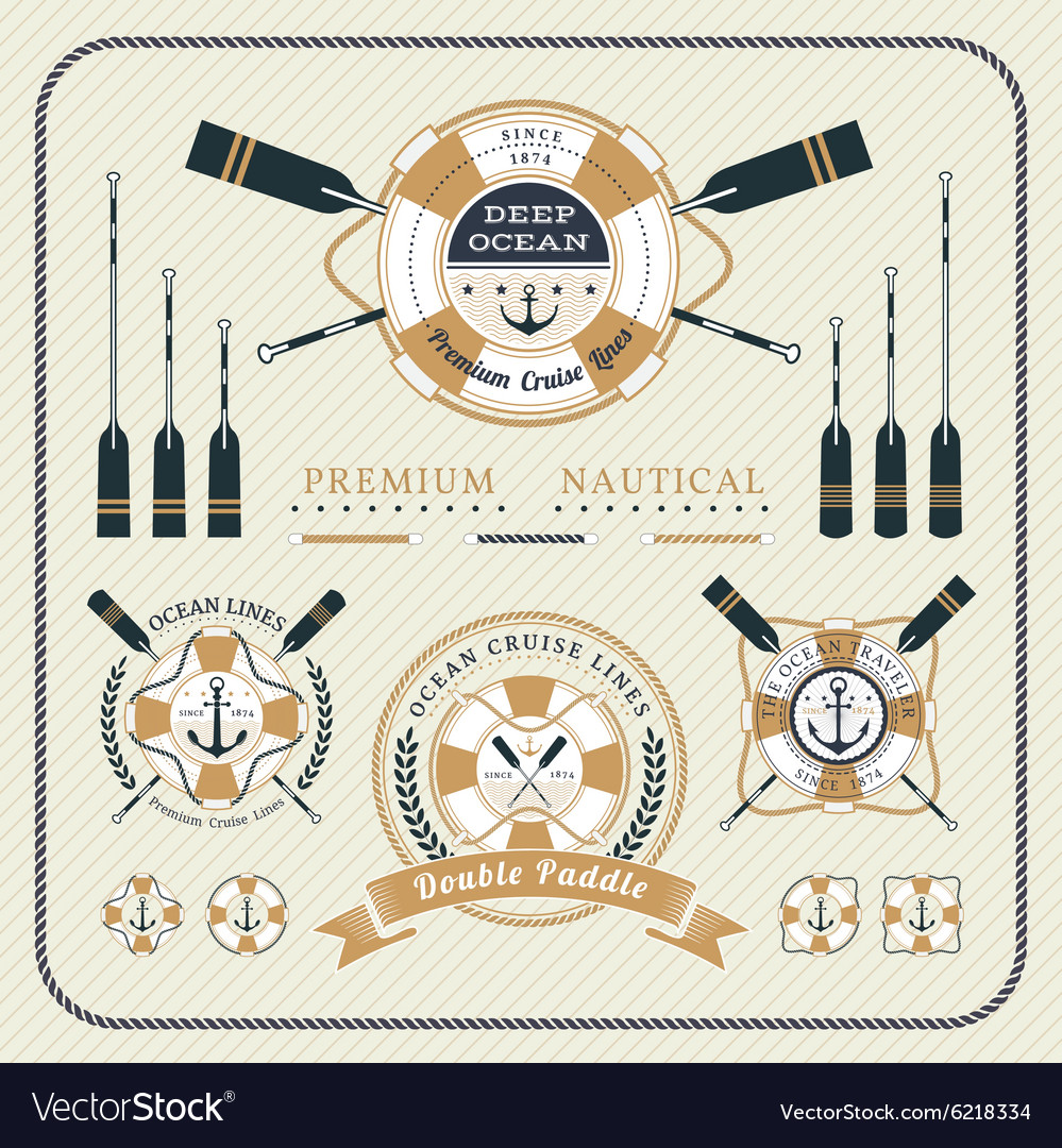 Vintage nautical lifebuoy and paddles label set vector