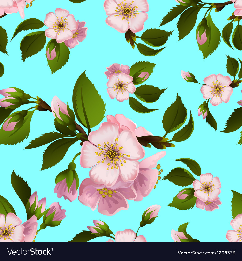 Seamless pattern with appletree flowers vector