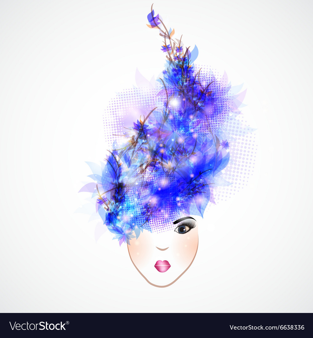 Woman silhouette abstract hair vector