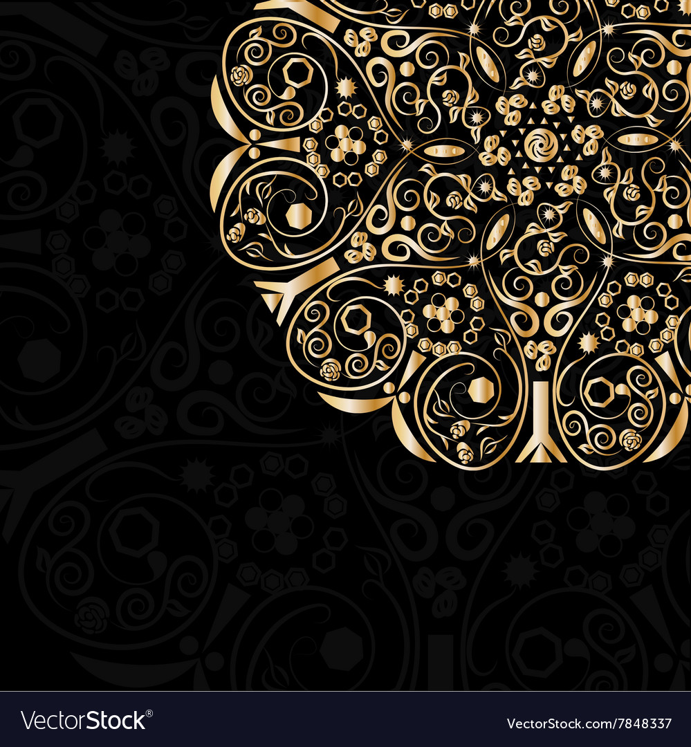 Gold pattern in circle vector
