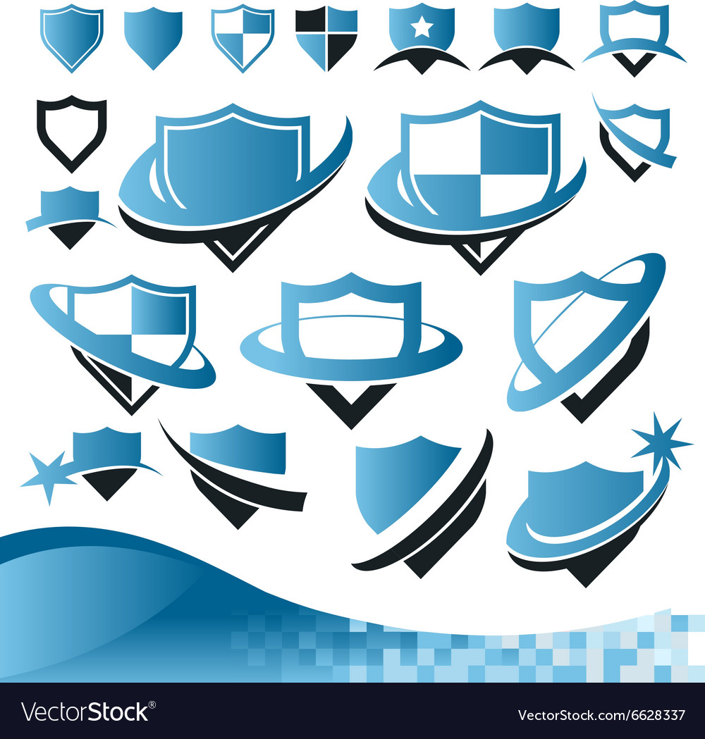 Shield security collection vector