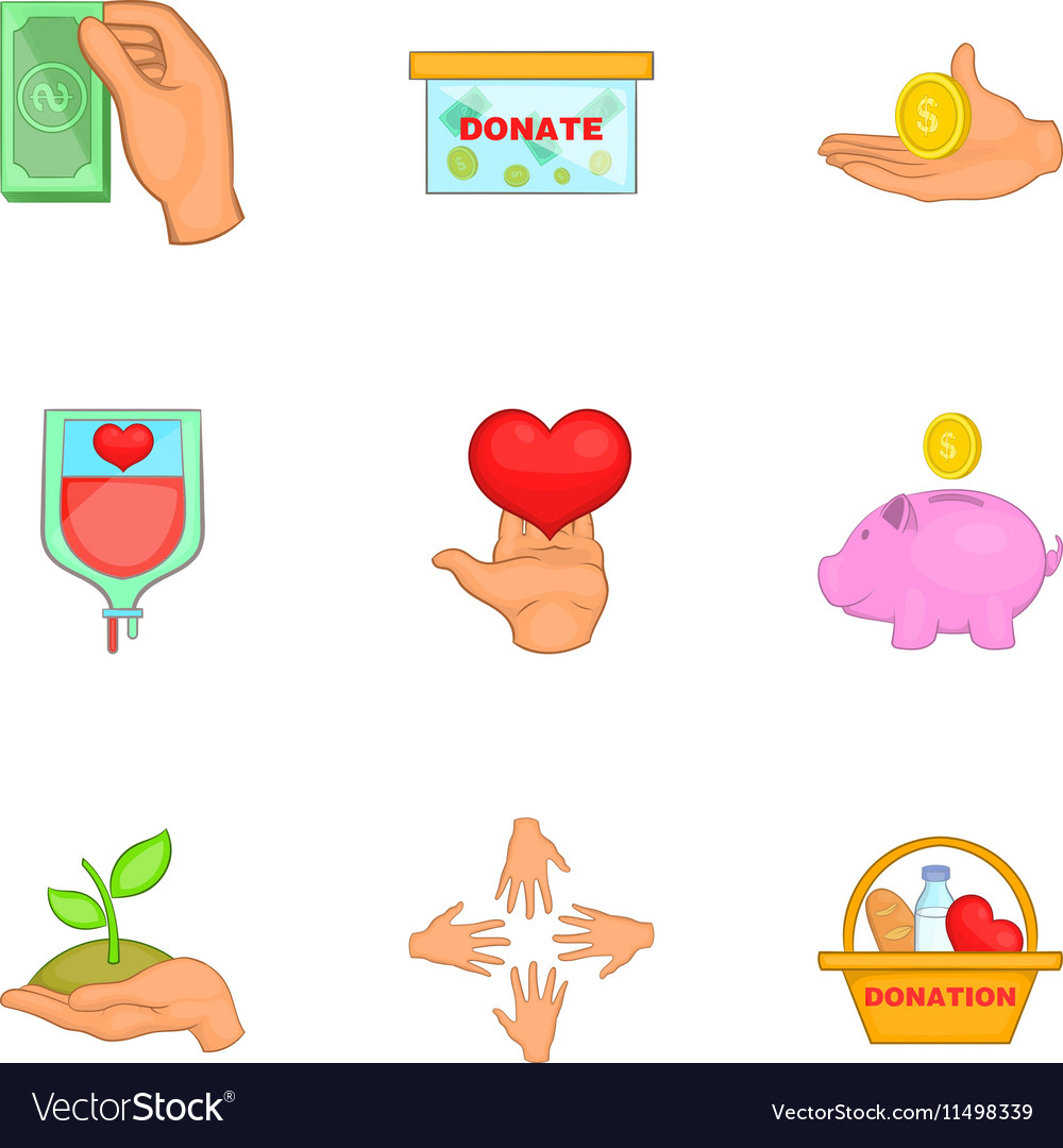 Patronage icons set cartoon style vector