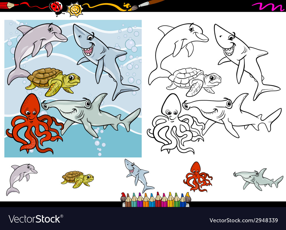 Sea life cartoon coloring page set vector