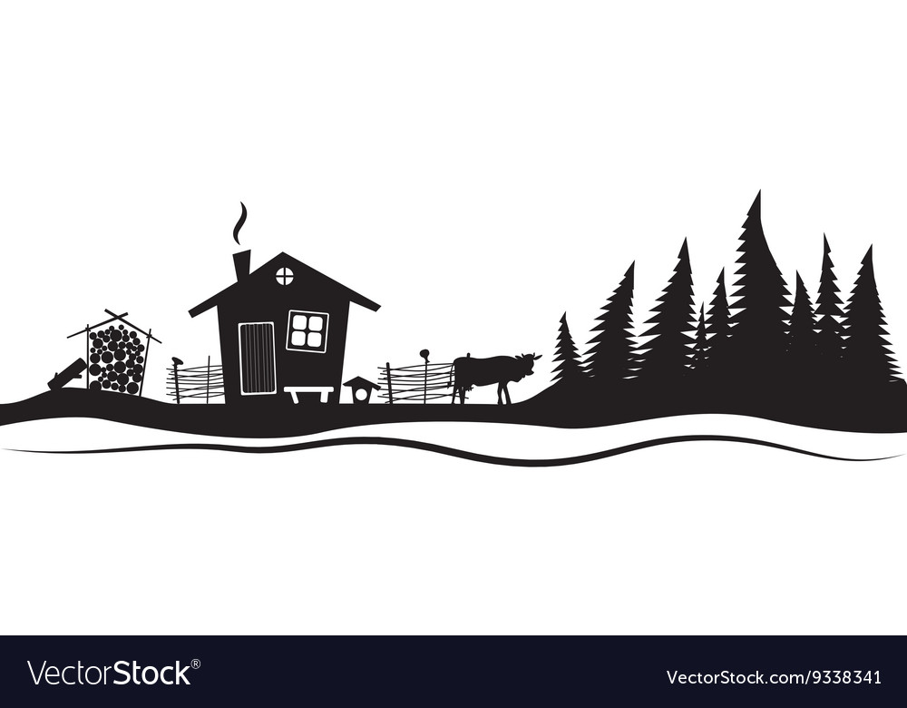 Beautiful sketch with beautiful house and spruce vector