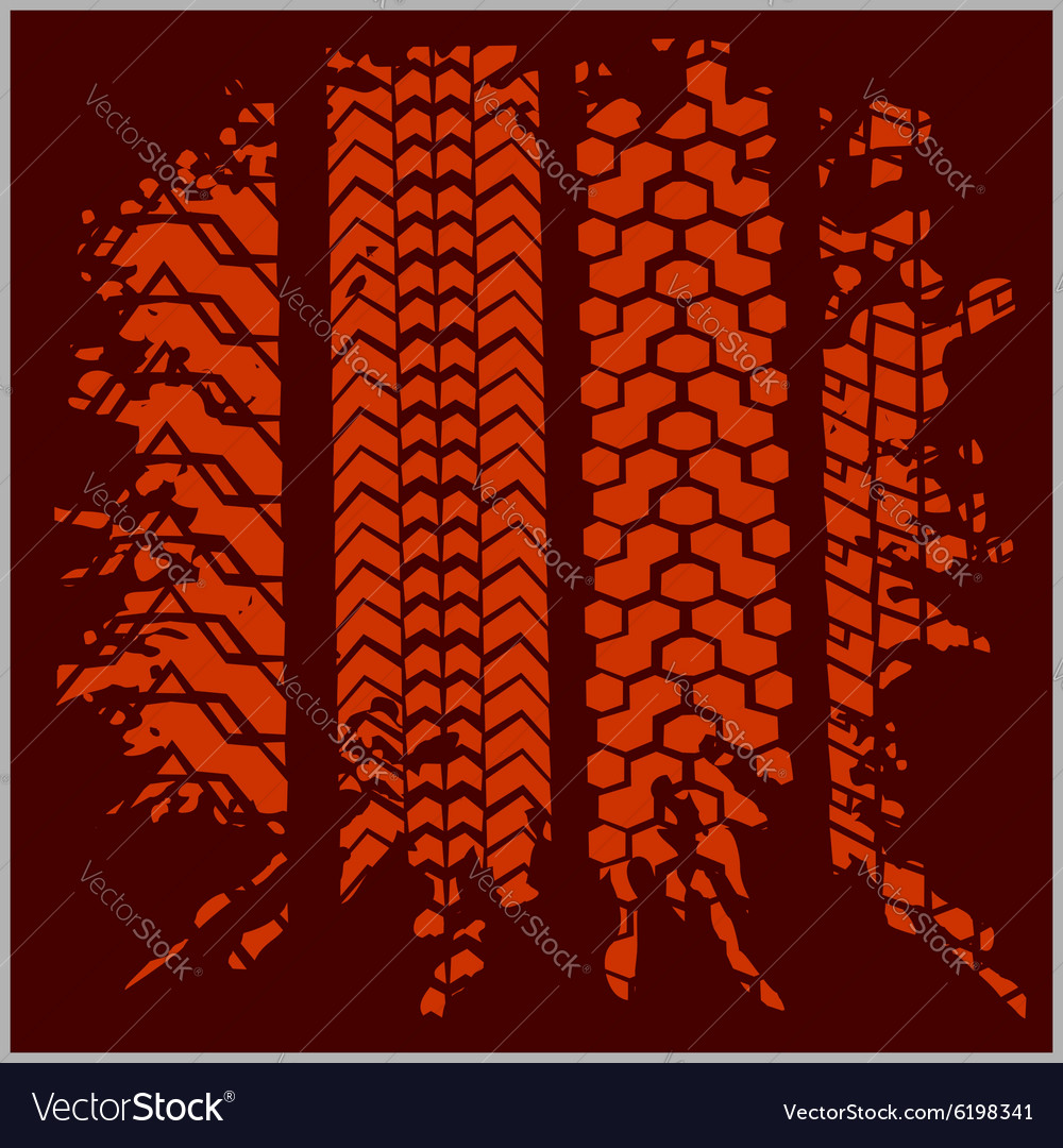 Car tire tracks with grunge  set vector
