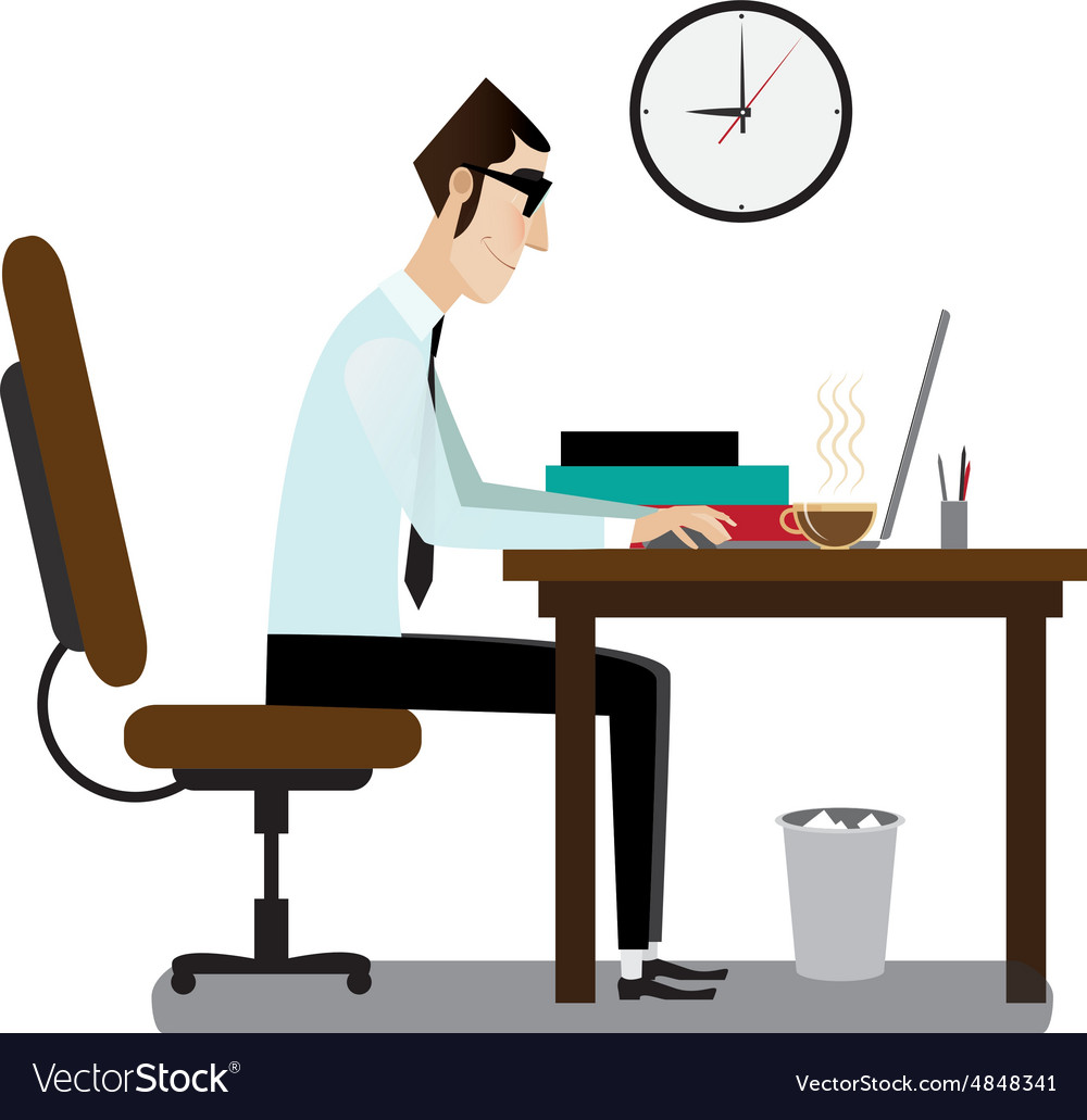 Office man sitting at working desk vector