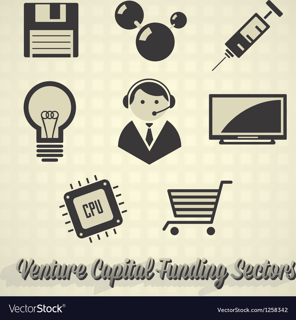 Venture capital funding icons vector
