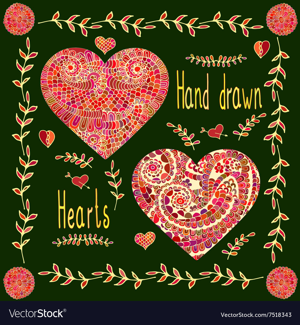 Set of two hand drawn hearts with floral frame vector