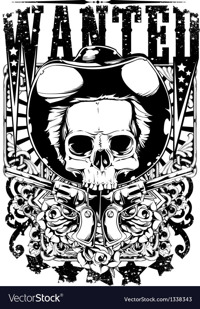 Wanted skull vector