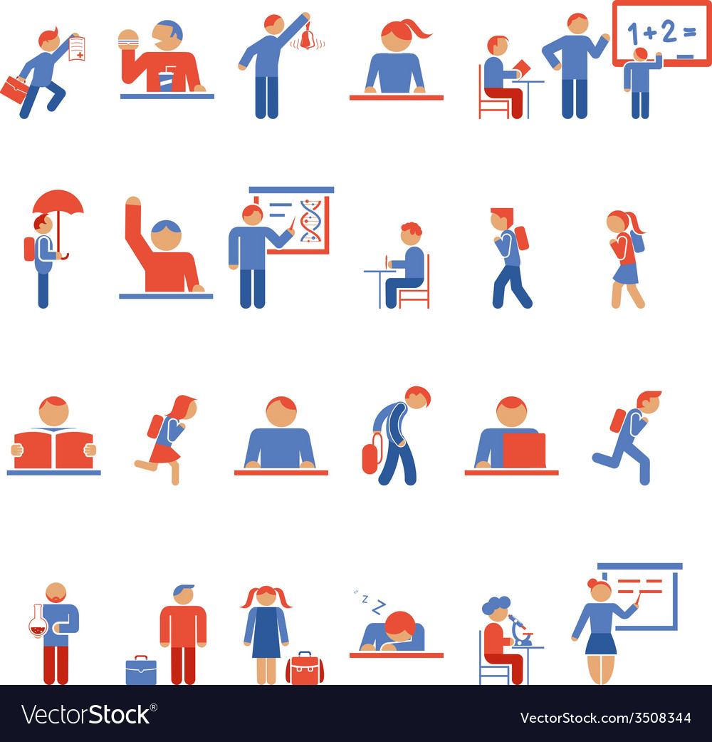 Children in school flat icons vector