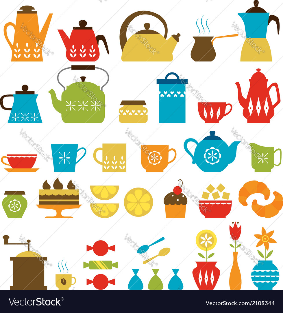 Tea time and coffee time vector