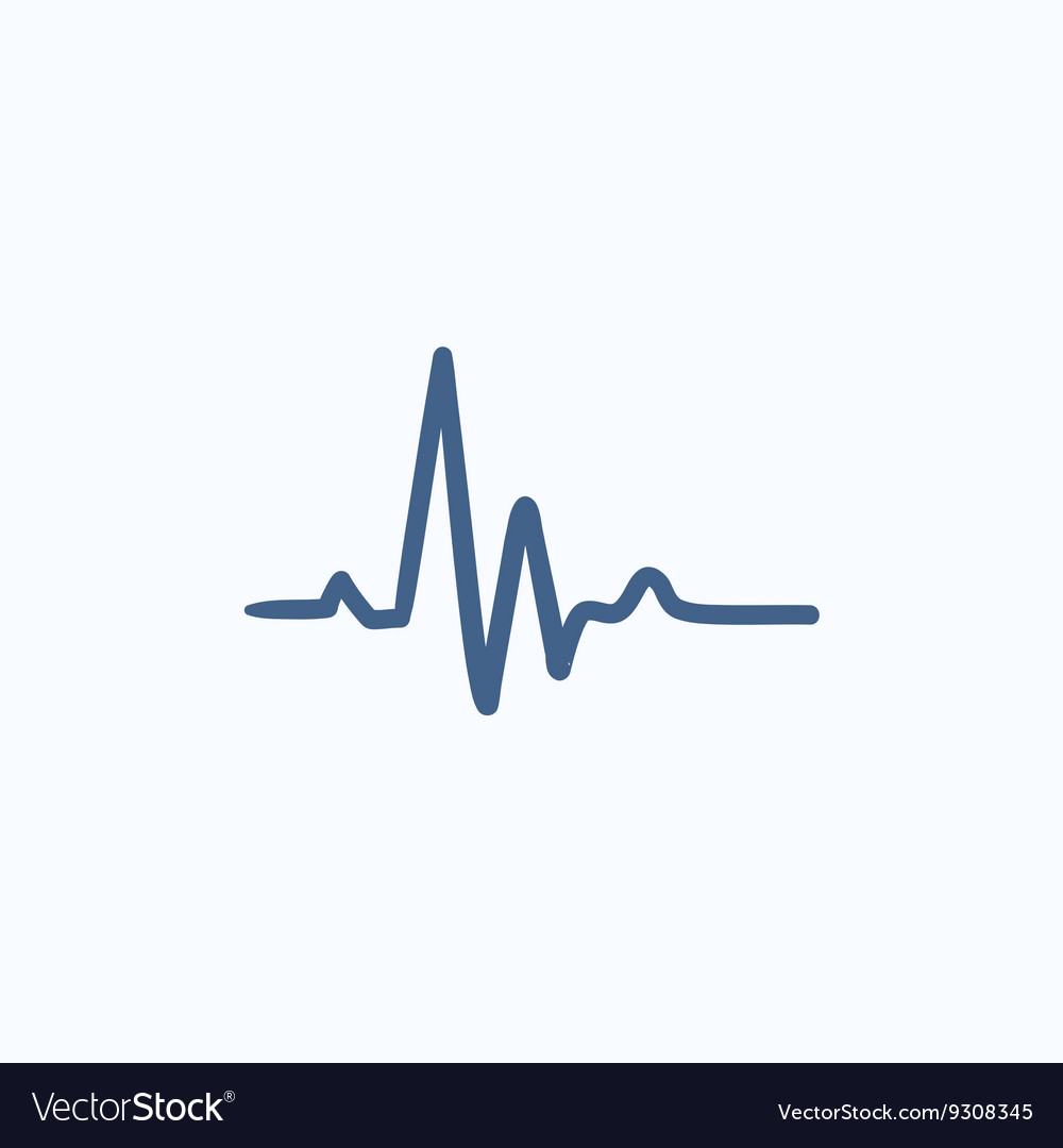 Heart beat cardiogram sketch icon vector