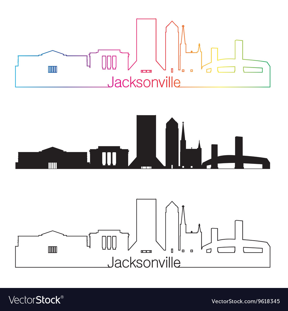 Jacksonville skyline linear style with rainbow vector