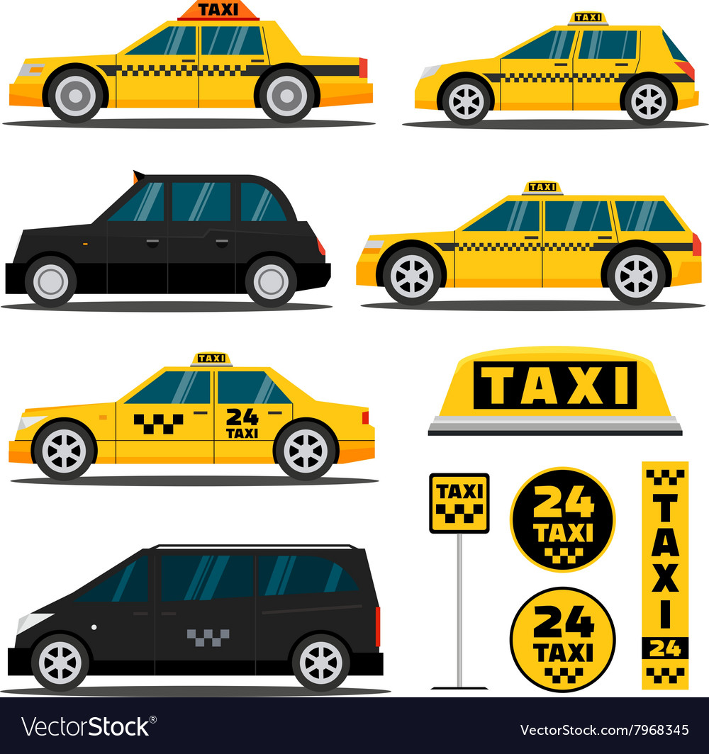 Modern and classic taxi cars vector