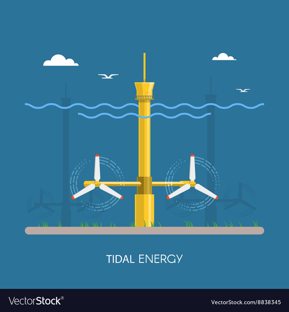 Tidal power plant and factory water turbines vector