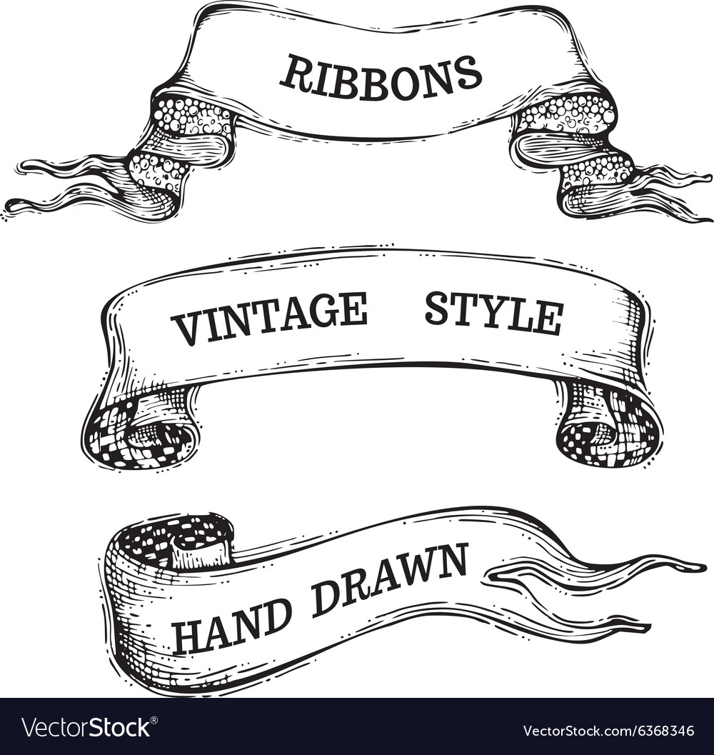 Handdrawn vintage ribbons set isolated on white vector