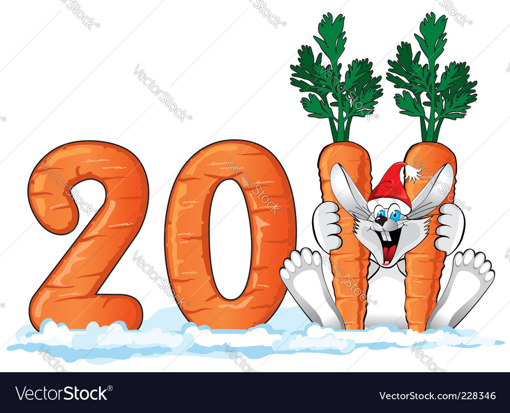 New years rabbit vector