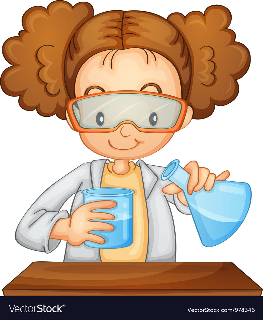 Young girl scientist vector