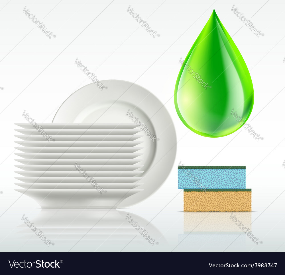 Plates and a drop of detergent isolated on white vector