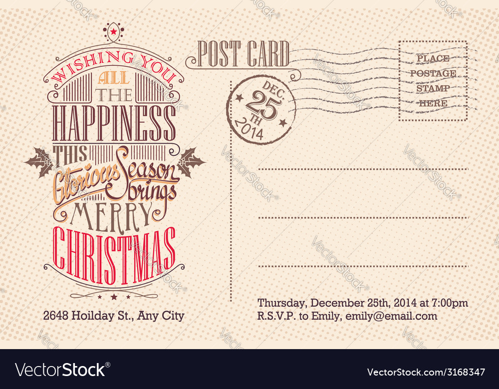 Vintage merry christmas holiday postcard vector