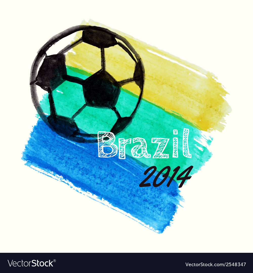 With watercolor ball dedicated to brazil 201 vector