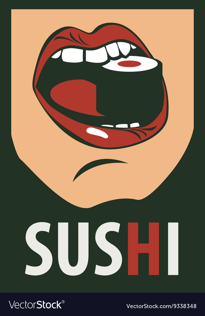 Human mouth eating sushi in a retro style vector