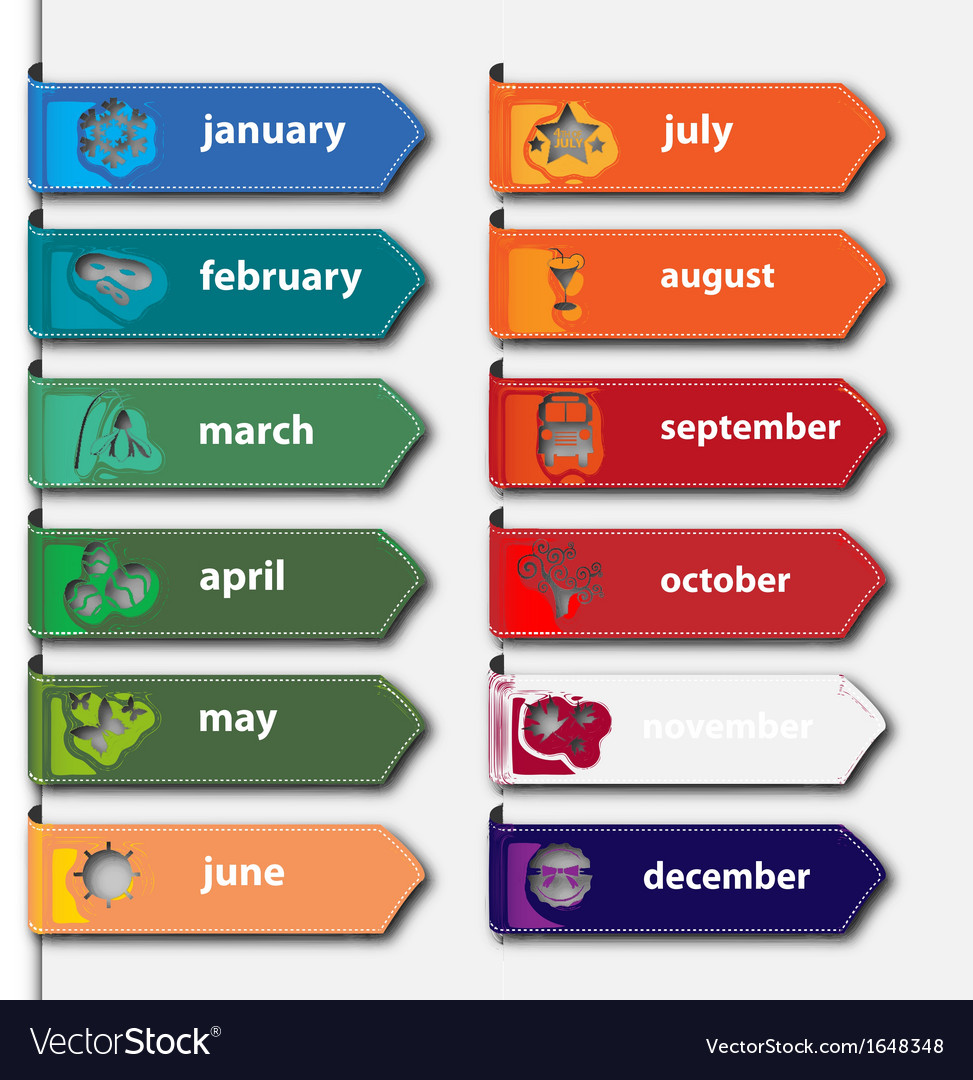 Month banners vector