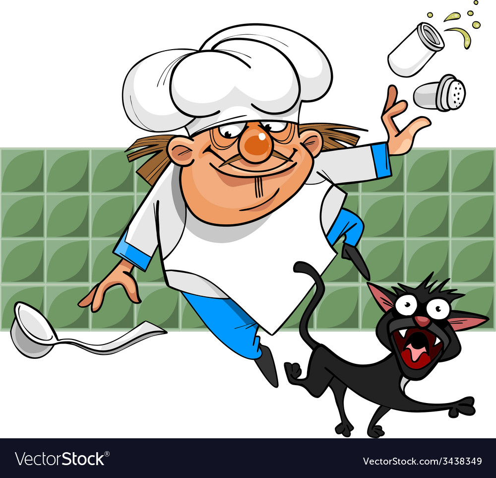 Unsuccessful cartoon cook stumbles on a black cat vector