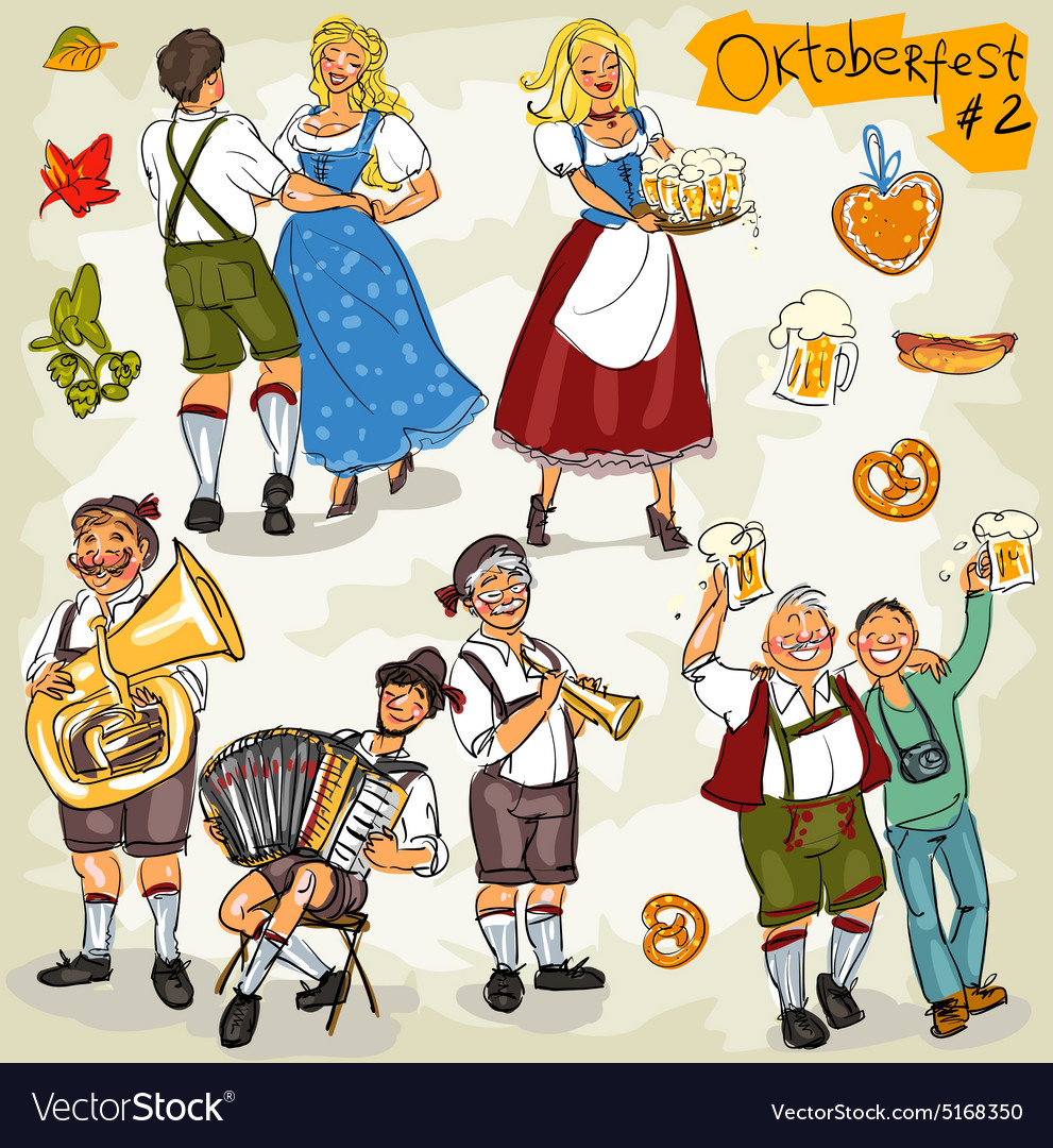 Oktoberfest  hand drawn collection  part 2 vector