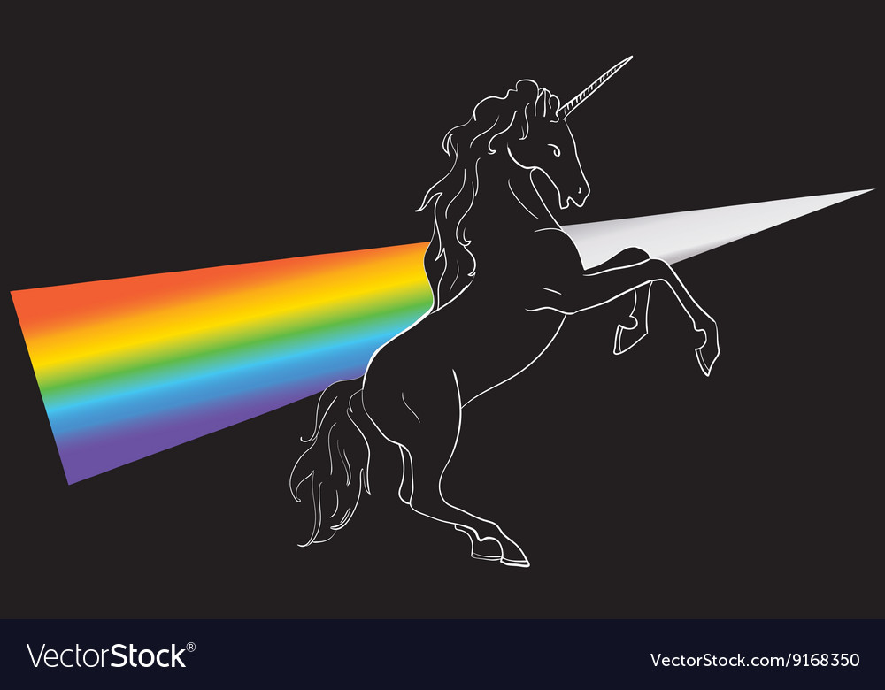Unicorn silhouette icon logo with rainbow vector