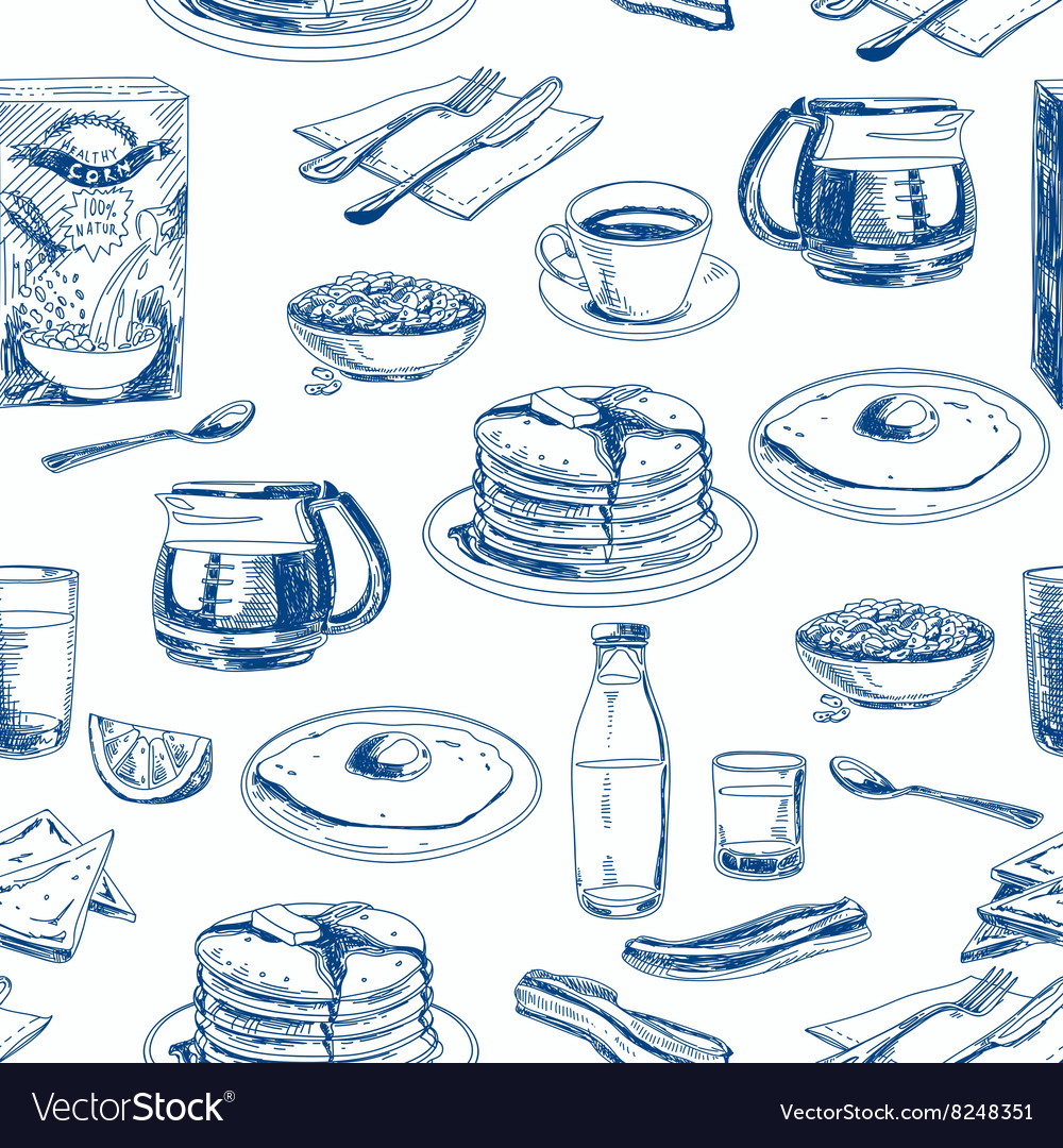 Hand drawn breakfast seamless pattern vector